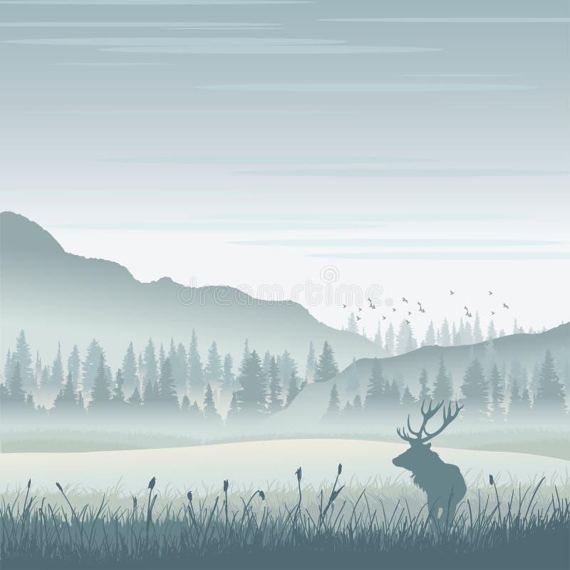 Wilde Amerikaanse elanden in bergen royalty-vrije illustratie
