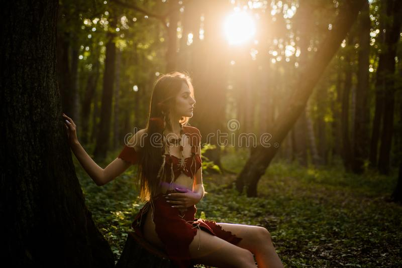 Wilde attraktive Frau im Waldfolklorecharakter Weibliche Geistmythologie Lebende unberührte Natur des wilden Lebens reizvoll stockfotografie