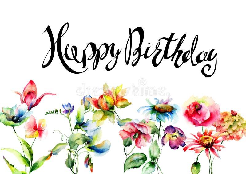 Wilde bloemen met titel Gelukkige Verjaardag, waterverfillustratie vector illustratie