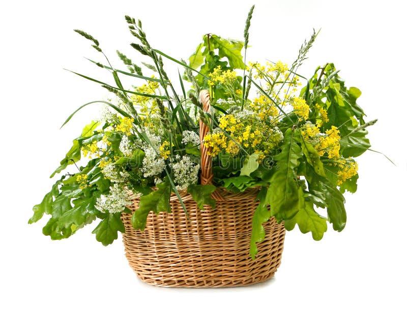 Wilde Blumen im Korb lizenzfreie stockbilder