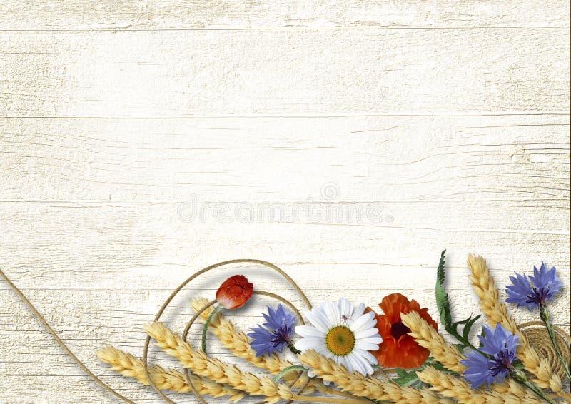Wilde Blumen mit den Ährchen auf einem hölzernen Hintergrund der Weinlese stockfotografie