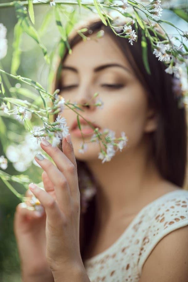 Wilde Blumen Schönes Porträt der jungen Frau auf dem Blumengebiet lizenzfreie stockfotografie