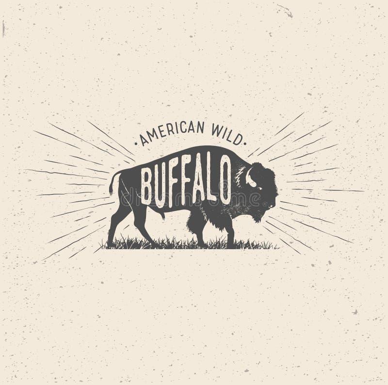 Wilde Buffels Wijnoogst gestileerde vectorillustratie van de Amerikaan stock illustratie