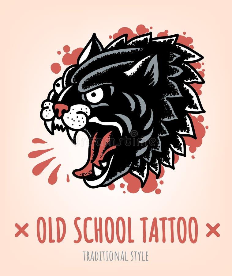 Wilde Cat Old School Tattoo in traditionele stijl royalty-vrije illustratie