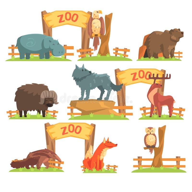 Wilde dieren achter de Omheining In Zoo Set vector illustratie