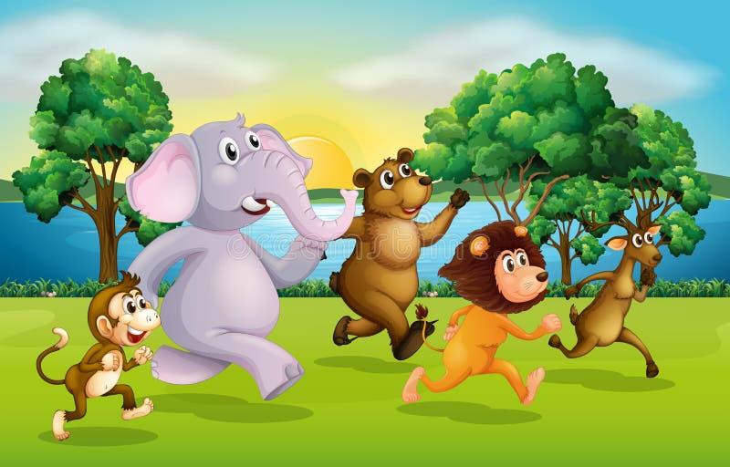 Wilde dieren die in het park rennen vector illustratie