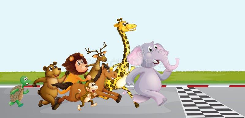 Wilde dieren die op de weg lopen royalty-vrije illustratie