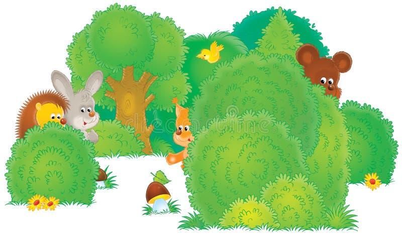 Wilde dieren in een bos royalty-vrije illustratie