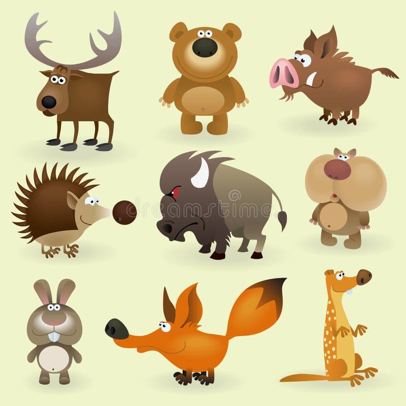 Wilde dieren geplaatst #2 stock illustratie