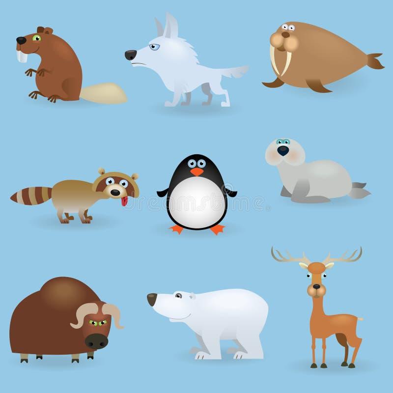 Wilde dieren geplaatst #3 (het Noorden) vector illustratie