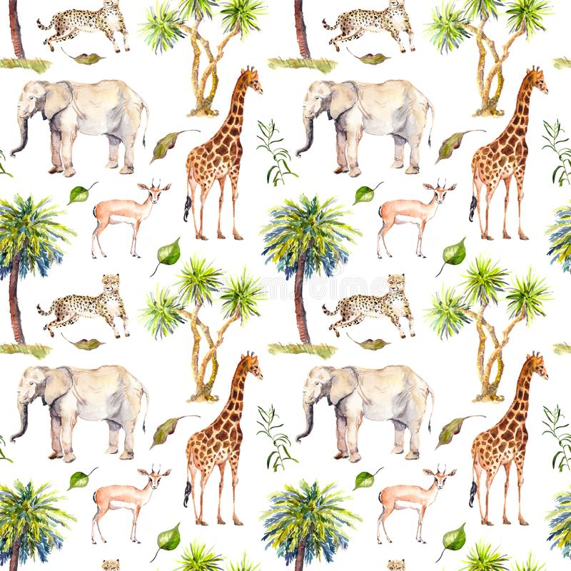 Wilde dieren - giraf, olifant, jachtluipaard, antilope in savanne en palmen Het herhalen van achtergrond watercolor royalty-vrije illustratie