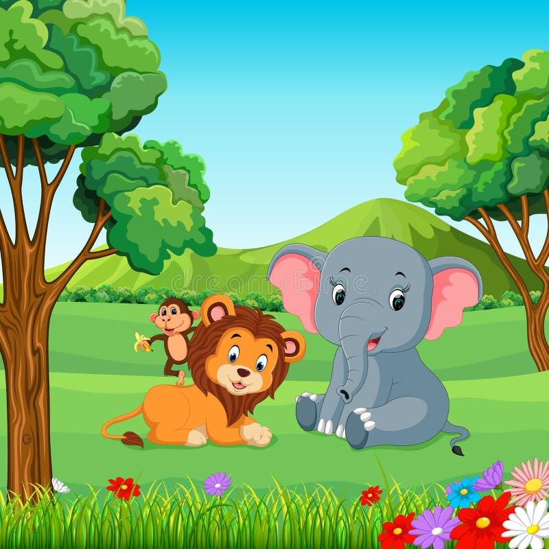 Wilde dieren in het bos vector illustratie