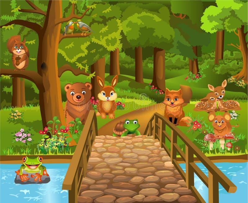 Wilde dieren in het bos en een brug in de voorgrond royalty-vrije illustratie