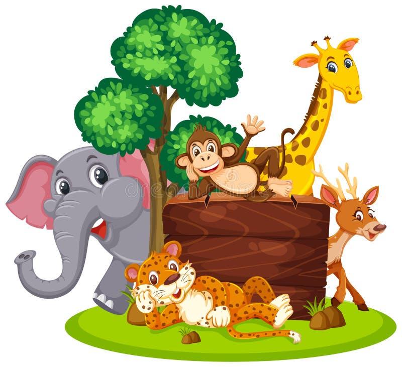 Wilde dieren met houten raad royalty-vrije illustratie