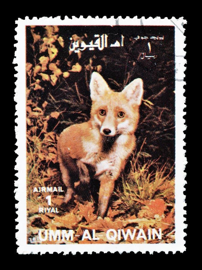 Wilde dieren op postzegels stock afbeeldingen