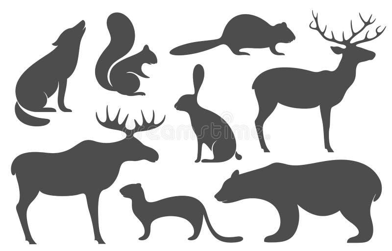 Wilde dieren Silhouet royalty-vrije illustratie