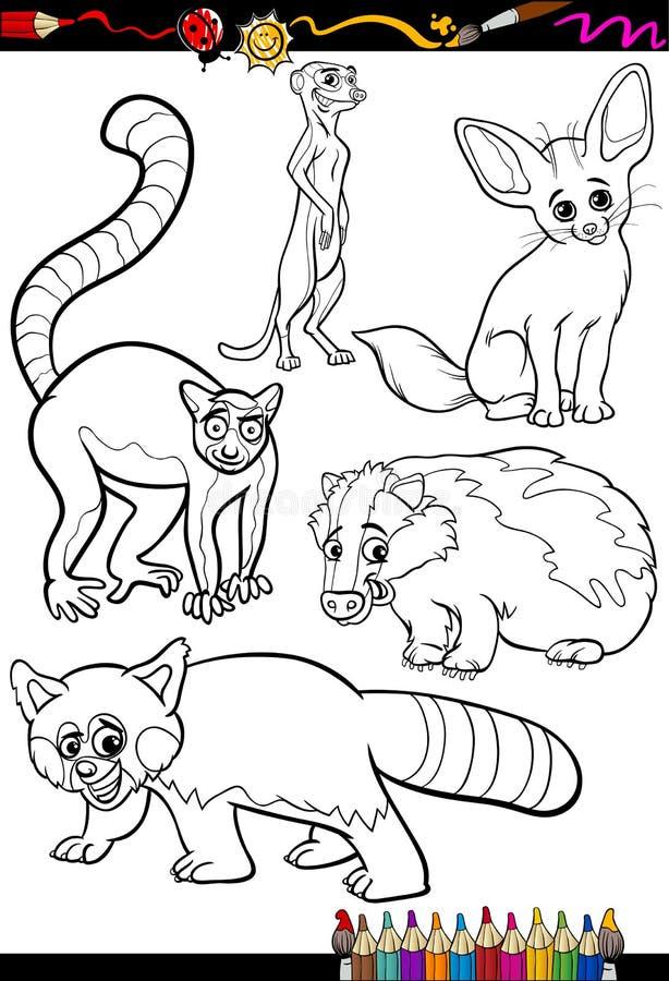 Wilde dieren voor het kleuren van boek worden geplaatst dat royalty-vrije illustratie