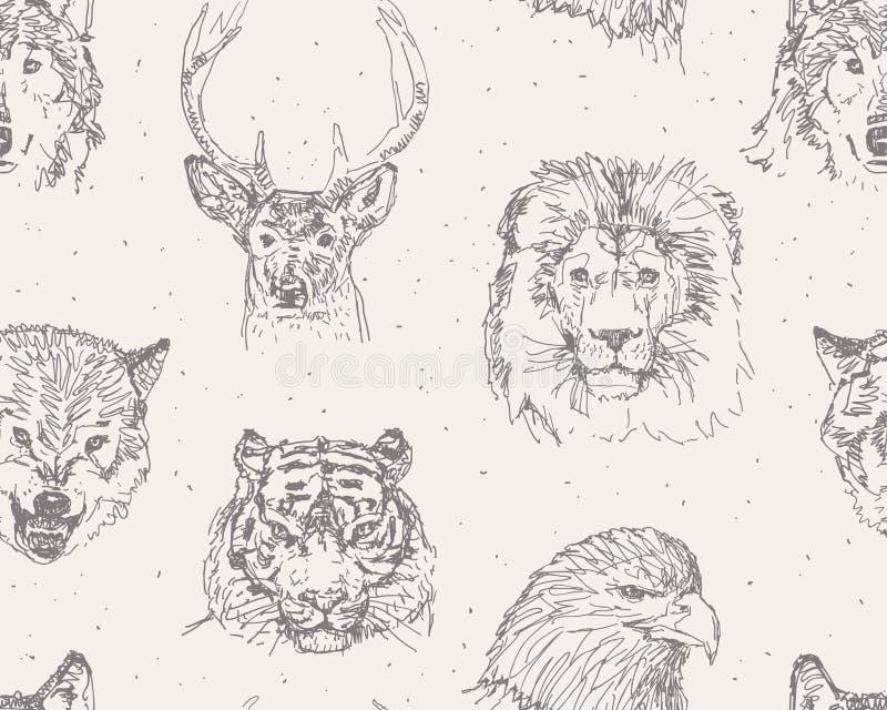 Wilde dierenpatroon stock illustratie
