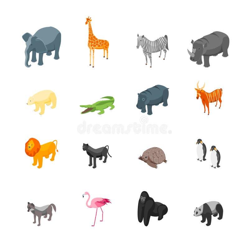 Wilde dierenpictogrammen Geplaatst Isometrische Mening Vector royalty-vrije illustratie