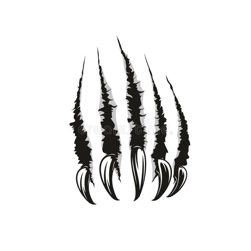 Wilde dierlijke klauw vectorkrassen stock illustratie