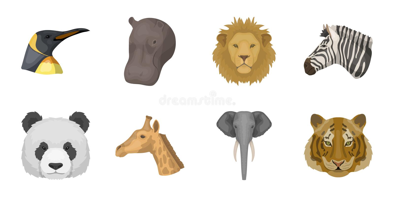 Wilde dierlijke pictogrammen in vastgestelde inzameling voor ontwerp Zoogdier en vogel vector het Webillustratie van de symboolvo vector illustratie