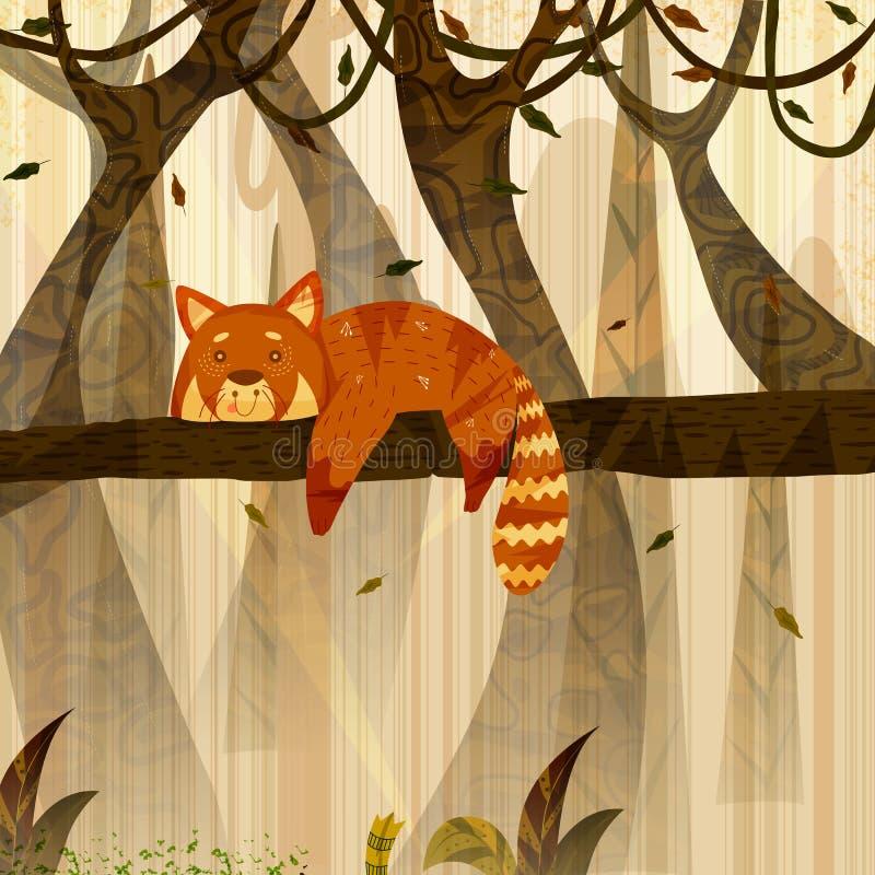 Wilde dierlijke Rode Panda op wildernis bosachtergrond royalty-vrije illustratie