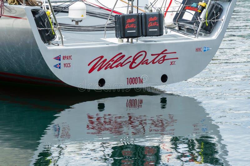 Wilde Haver XI 11 verslag brekende winst in Sydney aan Hobart Yacht Race - overzicht maxi, achtersteven vanuit lage invalshoek stock fotografie