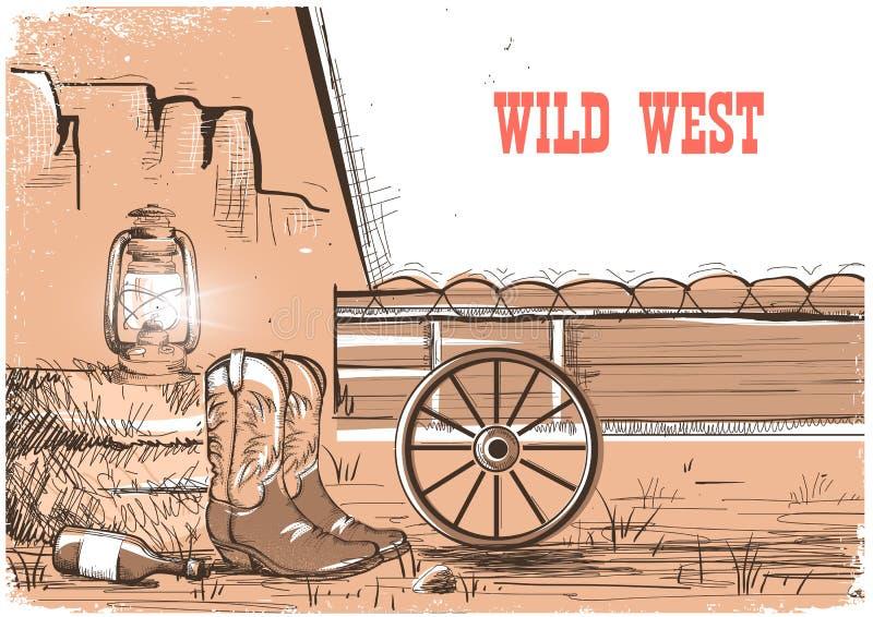 Wilde het westenachtergrond met cowboylaarzen Vector Amerikaanse prairies stock illustratie