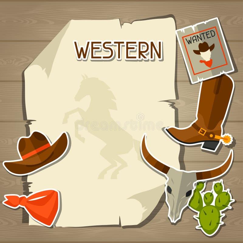 Wilde het westenachtergrond met cowboyvoorwerpen en stock illustratie