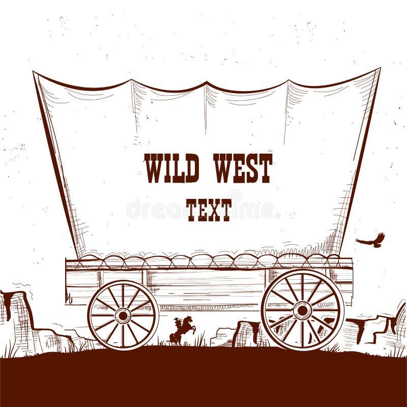 Wilde het westenwagen met Amerikaanse prairies Vectorillustratie backg royalty-vrije illustratie