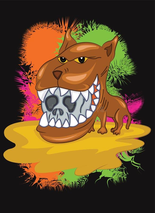 Wilde Hond met Grote Hoofd en Scherpe Tanden stock illustratie