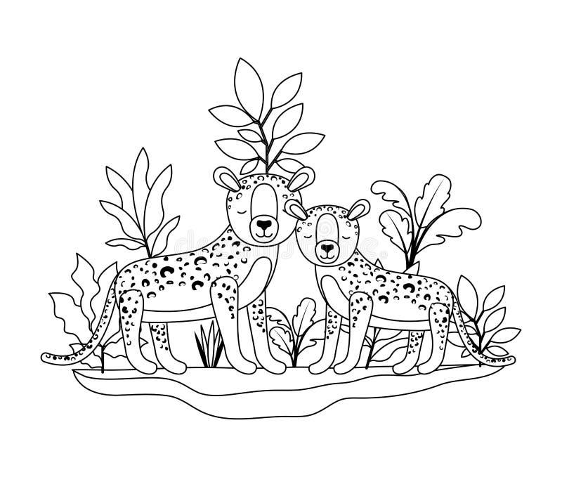 Wilde jachtluipaarden in de wildernis royalty-vrije illustratie