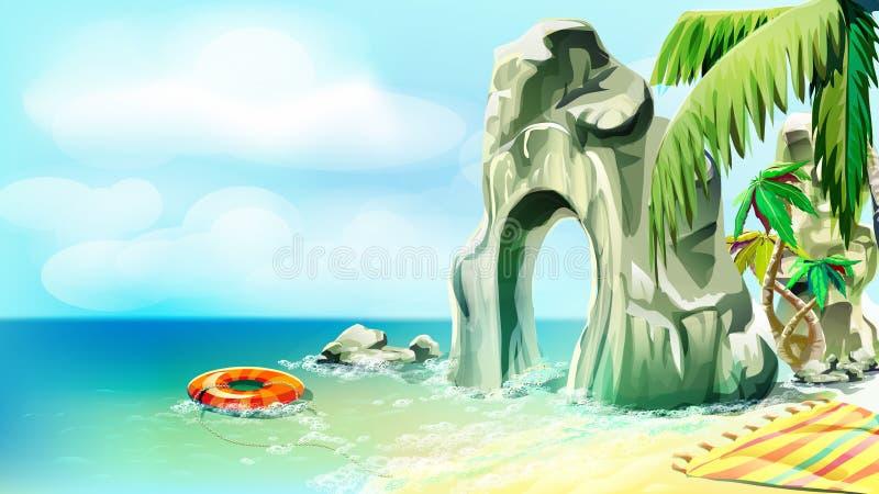 Wilde Küste in den Tropen vektor abbildung