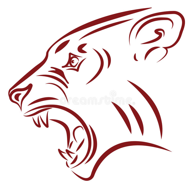 Wilde kattenhoektanden vector illustratie