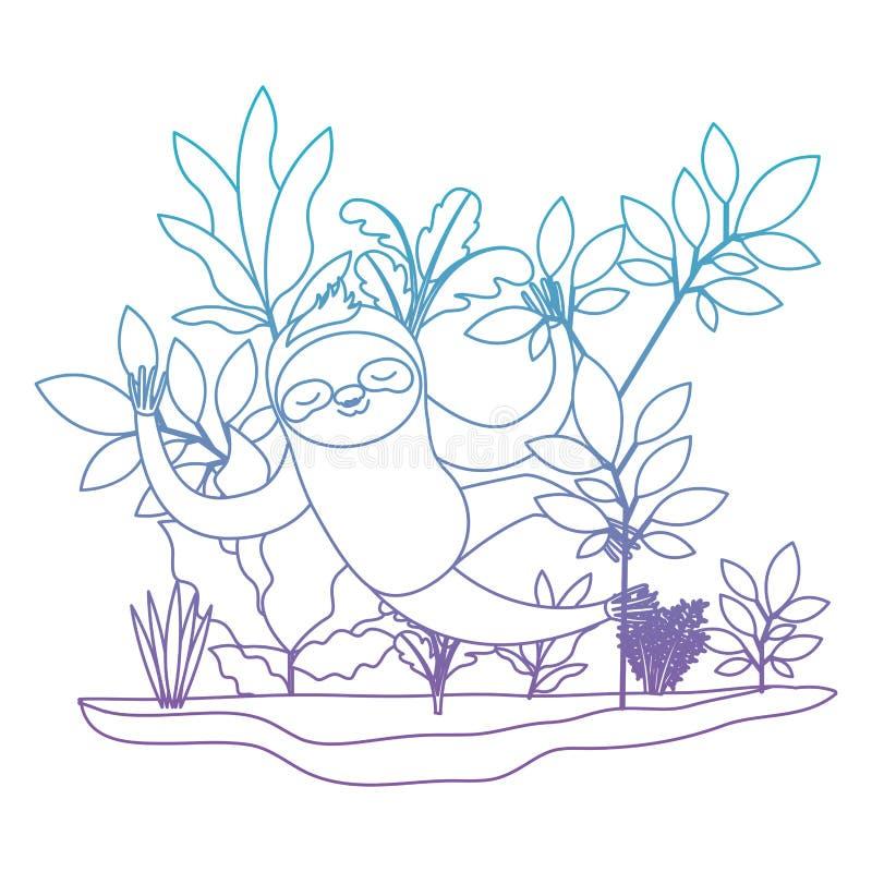 Wilde luiaard in de wildernisscène stock illustratie