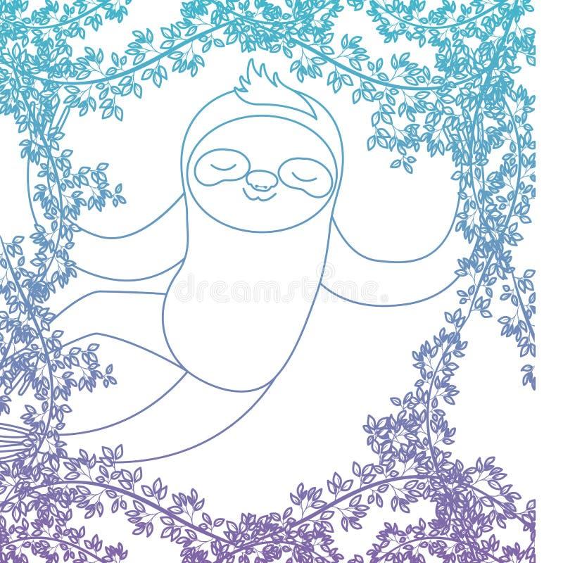 Wilde luiaard in de wildernisscène vector illustratie