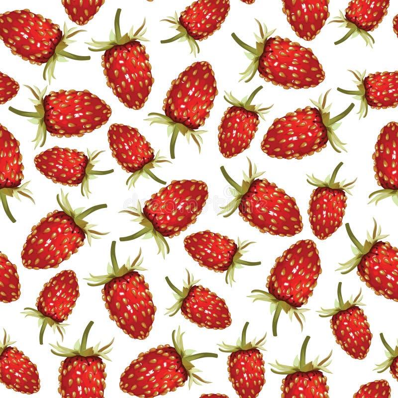 Wilde naadloos aardbeienpatroon royalty-vrije illustratie