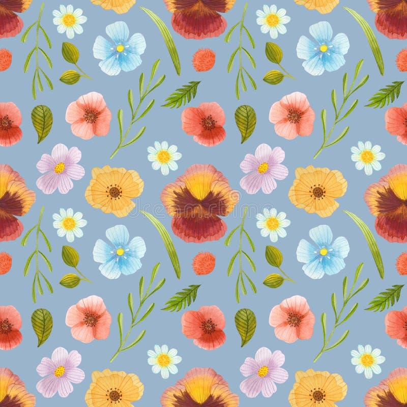 Wilde naadloze het patroon vastgestelde illustratie van de bloemenwaterverf royalty-vrije illustratie