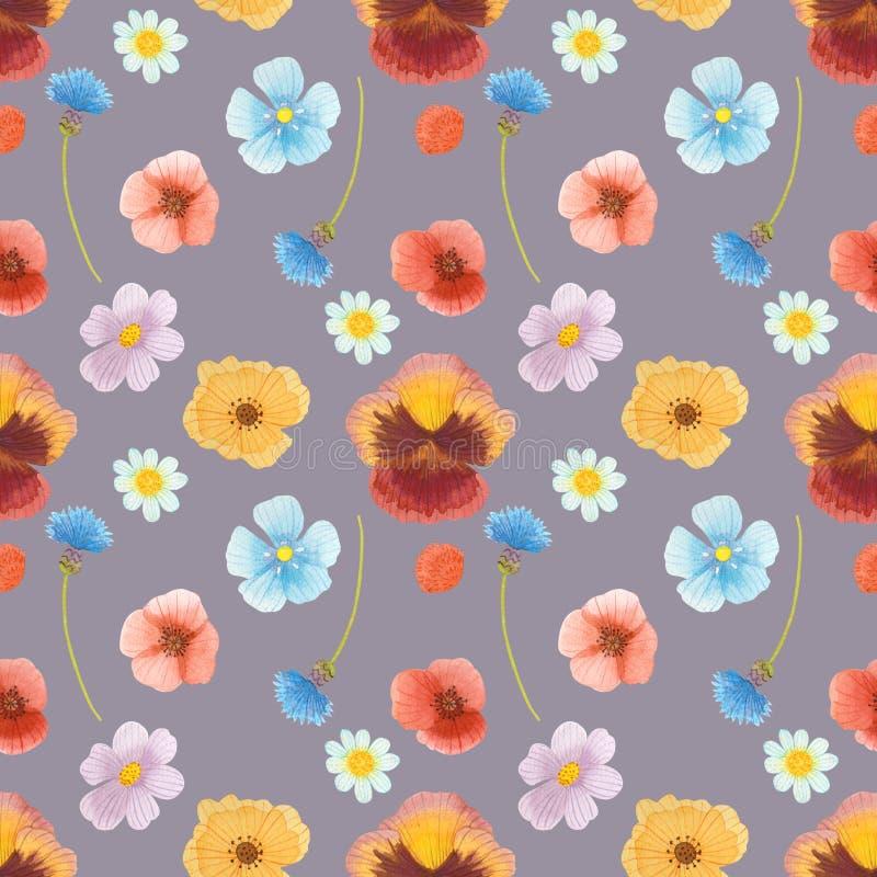Wilde naadloze het patroon vastgestelde illustratie van de bloemenwaterverf stock illustratie