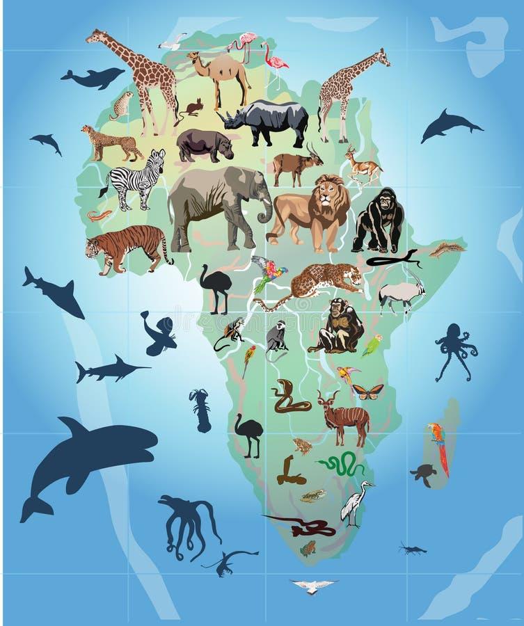 Wilde Tiere in der Afrika-Abbildung stock abbildung