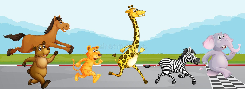 Wilde Tiere, die in Rennen laufen lizenzfreie abbildung