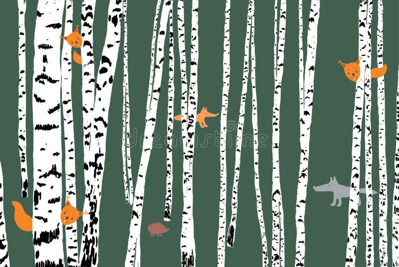 Wilde Tiere in einem Birkenwald lizenzfreie abbildung