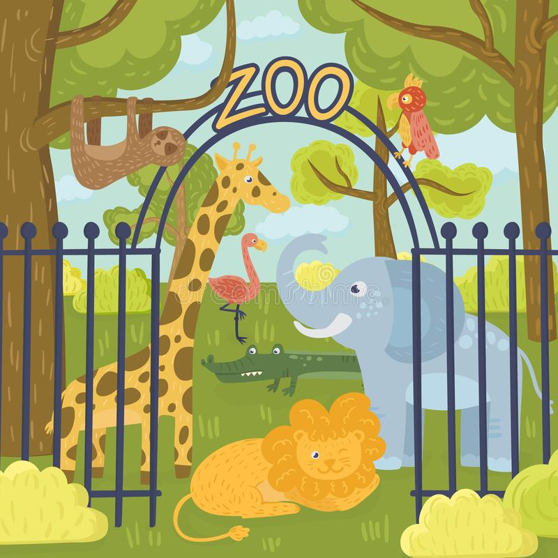 Wilde Tiere im Zoopark Giraffe, Elefant, Papagei, Löwe, Trägheit, Koalabär, Flamingo, Krokodil und Tiger nave stock abbildung