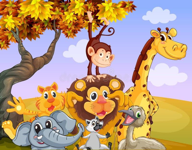 Wilde Tiere nahe dem großen Baum lizenzfreie abbildung