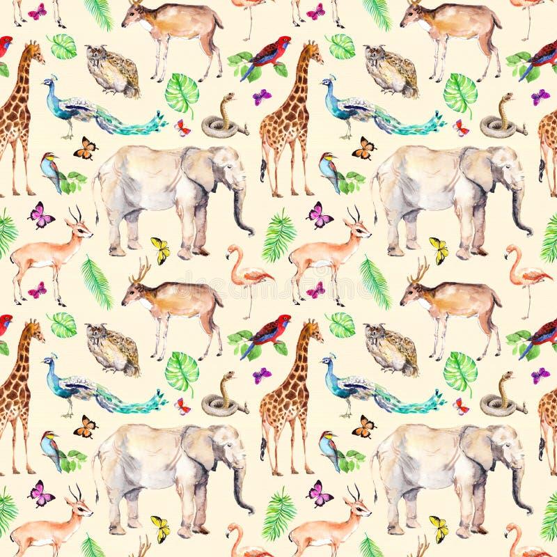 Wilde Tiere und Vögel - Zoo, wild lebende Tiere - Elefant, Giraffe, Rotwild, Eule, Papagei, anderer Nahtloses Muster watercolor stock abbildung