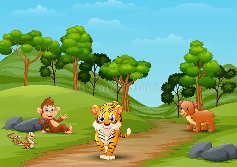 Wilde Tierkarikatur, die im Dschungel spielt vektor abbildung