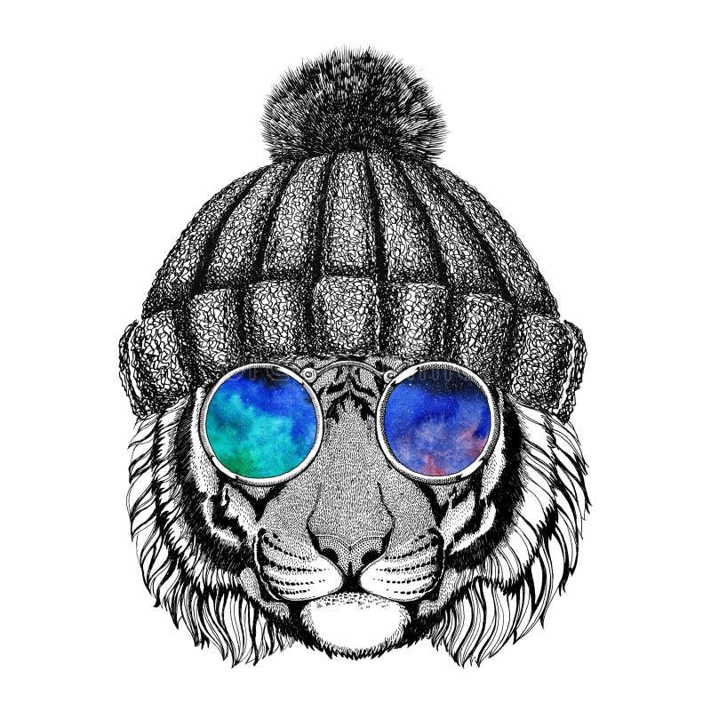 Wilde tijger die hippieglazen en het gebreide dierlijke Beeld van hoedenhipster voor tatoegering, embleem, embleem, kentekenontwe stock illustratie