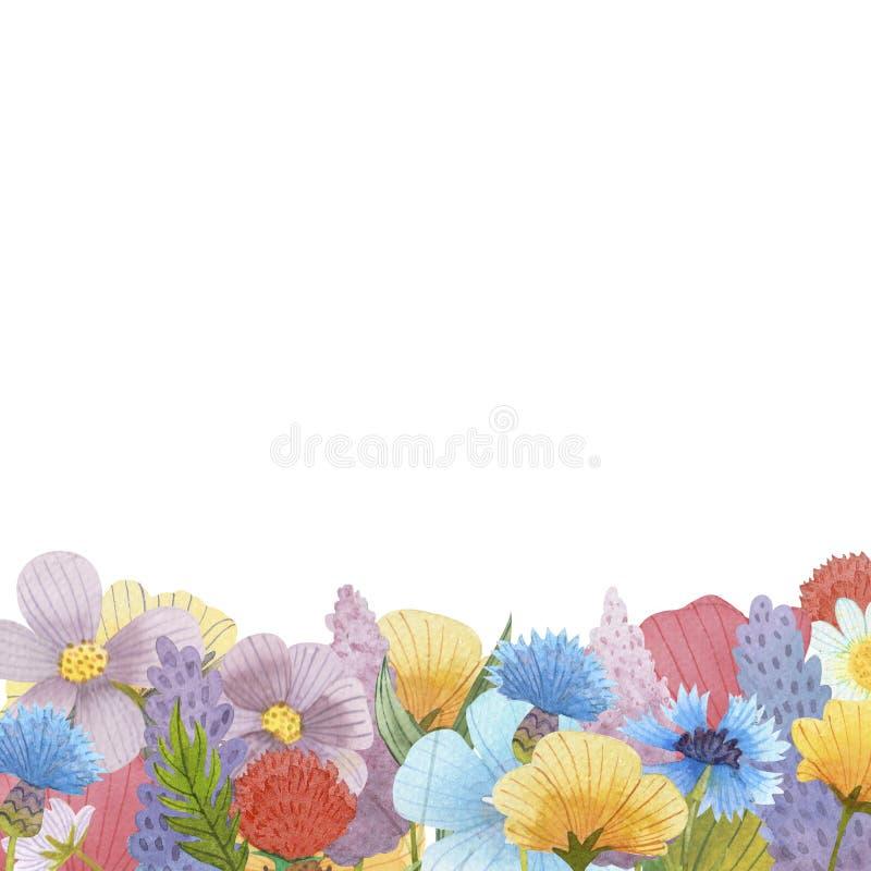 Wilde van de de samenstellingsillustratie van de bloemenwaterverf de kunstreeks vector illustratie
