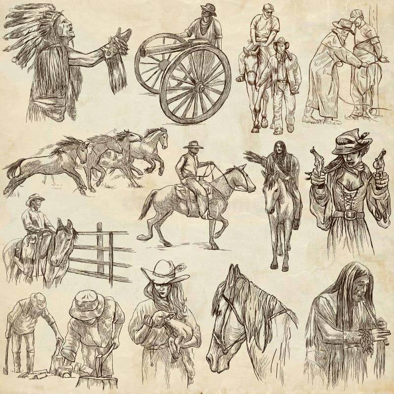 Wilde Westennen, Amerikaanse grens en Inheemse Amerikanen - een hand trekt royalty-vrije illustratie
