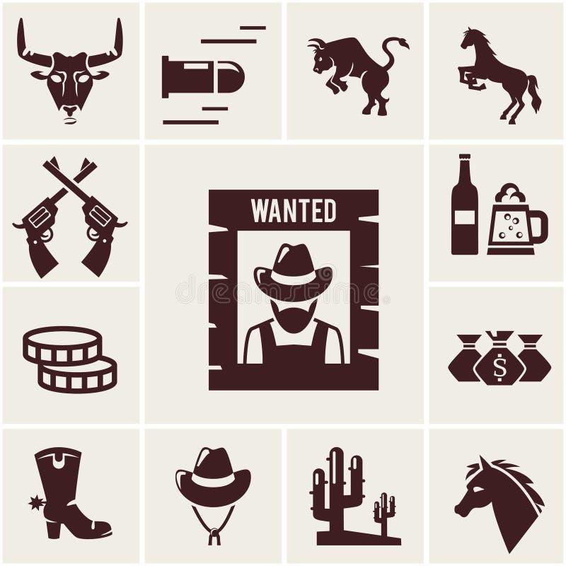 Wilde Westennen gewilde affiche en bijbehorende pictogrammen stock illustratie